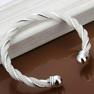 Silver Cuff Bangle Bracelet